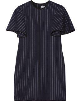 Pinstriped Silk Satin-trimmed Wool-blend Mini Dress