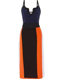 Color-block Silk Crepe De Chine Midi Dress