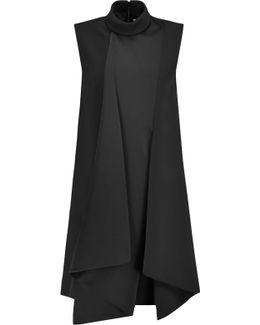 Asymmetric Satin-crepe Mini Dress