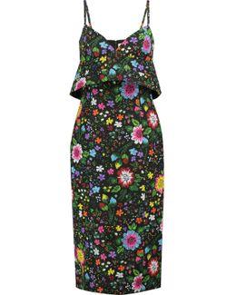 Floral-print Twill Midi Dress