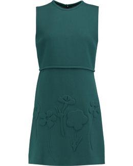 Jacquard-paneled Wool Mini Dress