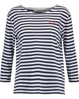 Embroidered Striped Cotton Top