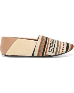 Jacks Paneled Embroidered Canvas Slippers