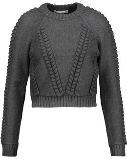 Cropped Cable-knit Wool-cloqué Sweater