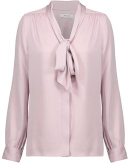 Pussy-bow Gathered Silk-blend Cady Blouse