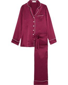 Lila Polka-dot Silk Pajama Set