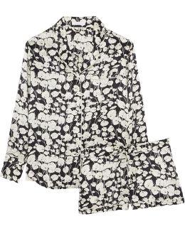 Alba Printed Silk Pajama Set