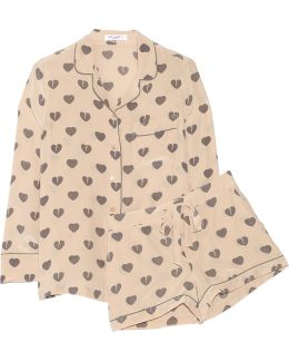 Signature Printed Washed-silk Pajama Set
