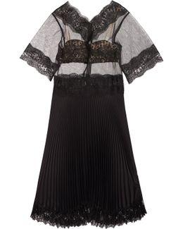 Lace-paneled Tulle And Plissé-satin Dress