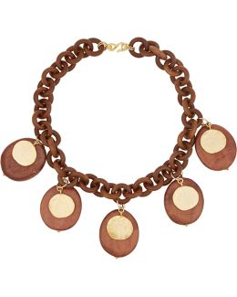 Faux Wood And Gold-plated Necklace