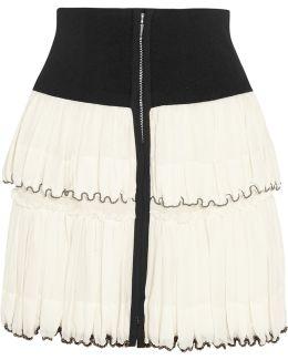 Roscoe Beaded Tiered Cotton-voile Mini Skirt