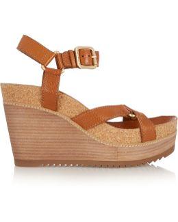 Brenden Textured-leather Wedge Sandals