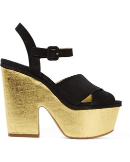 Hilary Suede And Metallic Cork Platform Sandals