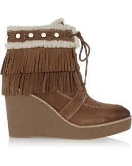 Kemper Faux Shearling-lined Fringed Suede Wedge Boots