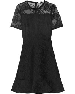 Embroidered Organza-paneled Cloqué Mini Dress