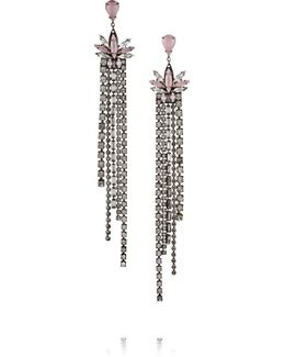 Lady Of Lake Oxidized Gunmetal-tone Swarovski Crystal Earrings