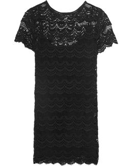 Tiered Cotton-lace Mini Dress