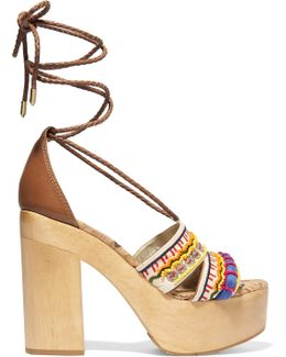 Mel Embellished Canvas Platform Sandals