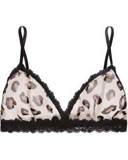 Lace-trimmed Leopard-print Chiffon Soft-cup Bra