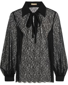 Pussy-bow Crepe-trimmed Chantilly Lace Blouse