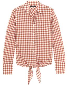 Tie-front Gingham Stretch-cotton Shirt