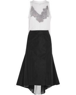Guipure Lace-trimmed Plissé-chiffon And Crepe Dress