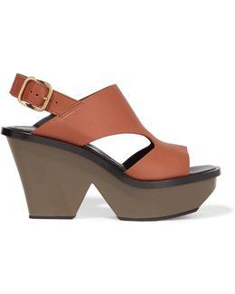 Leather Slingback Platform Sandals