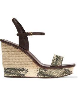 Malaga Snake-effect Espadrille Leather Wedge Sandals