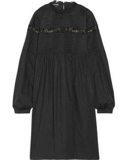 Lace-trimmed Pintucked Cotton-blend Dress
