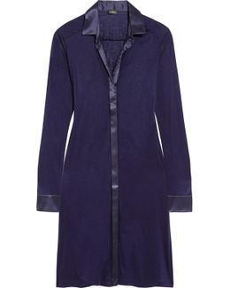 Morgane Silk Satin-trimmed Stretch-jersey Nightshirt