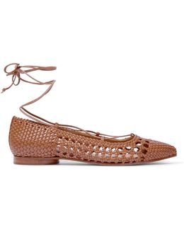 Kallie Woven Leather Point-toe Flats