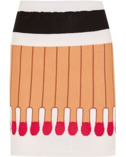 Intarsia Wool Mini Skirt
