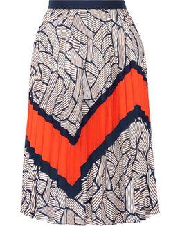 Saphira Pleated Chiffon-trimmed Printed Crepe De Chine Skirt