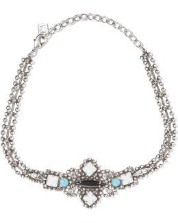 Glorenza Oxidized Silver-plated Swarovski Crystal Choker