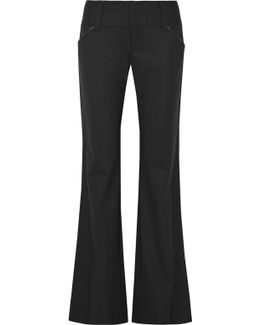 Olivia Leather-trimmed Wool-blend Bootcut Pants