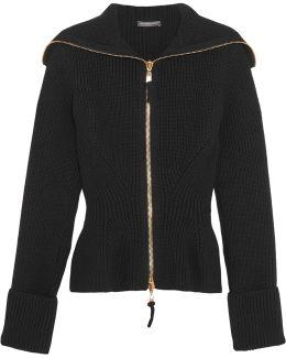 Ribbed-knit Wool Peplum Cardigan