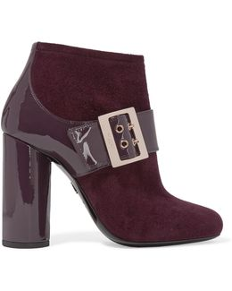Buckled Suede and Patent-Leather Ankle Boots