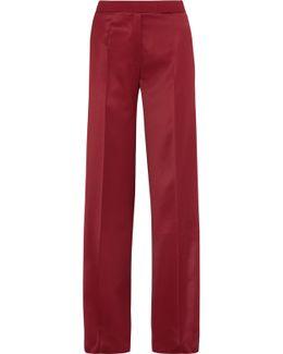 Hector Crepe-trimmed Satin Wide-leg Pants