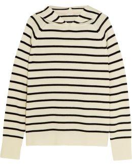 Striped Merino Wool Hooded Top