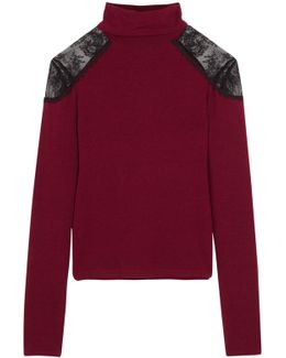 Krystalle Lace-trimmed Stretch-knit Turtleneck Sweater