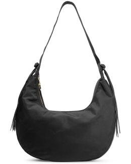 Zoe Large Tasseled Leather-trimmed Shell Shoulder Bag