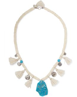 Tasseled Turquoise And Silver Beaded Necklace