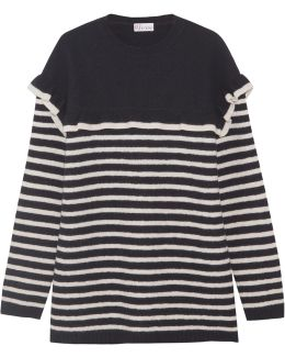 Ruffled Striped Wool-felt Sweater