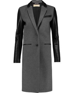 Leather-paneled Wool-blend Coat
