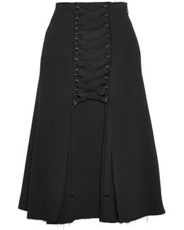 Lace-up Crepe Skirt