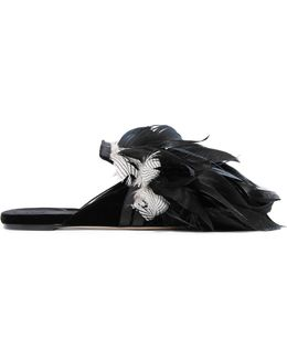 Cigno Feather-embellished Velvet Slippers