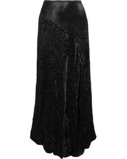 Louie Crinkled-satin Midi Skirt