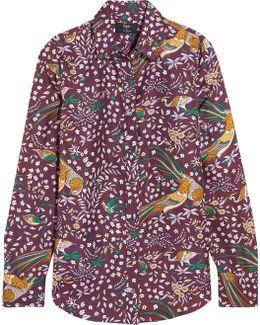 + Drake's Printed Silk-twill Shirt