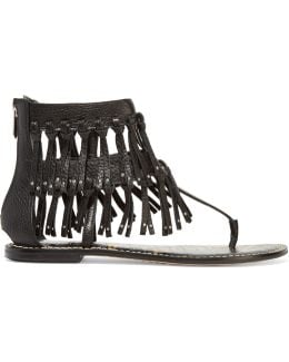 Griffen Fringed Leather Sandals
