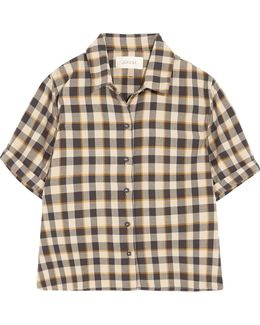 The Bias Cropped Checked Cotton Shirt